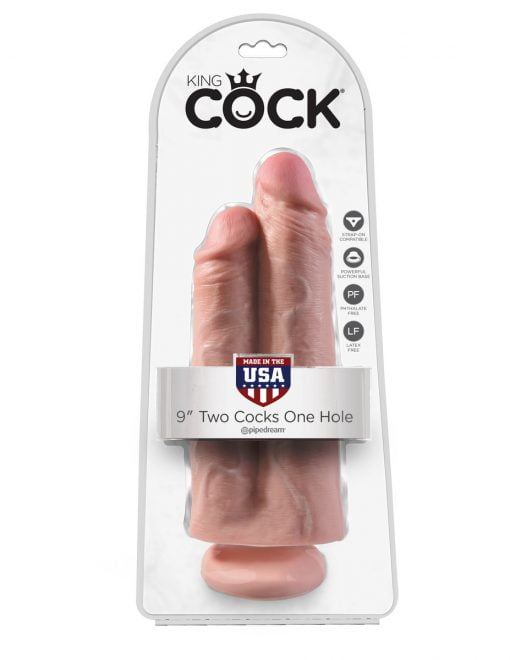 King Cock 9 Inch Two Cocks One Hole -7643