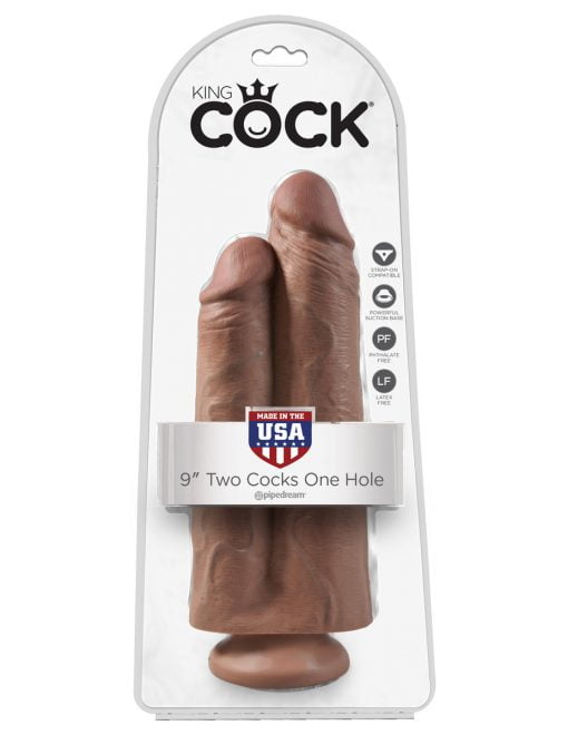 King Cock 9 Inch Two Cocks One Hole -7647