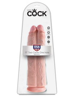 King Cock 11 Inch Two Cocks One Hole -0