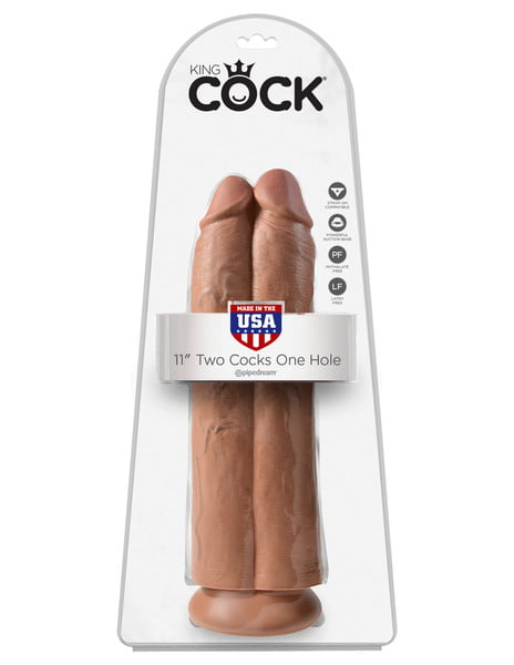 King Cock 11 Inch Two Cocks One Hole -7598