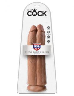 King Cock 11 inch Two Cocks One Hole -Tan-0