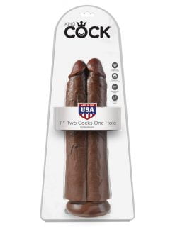 King Cock 11 Inch Two Cocks One Hole -Brown-0