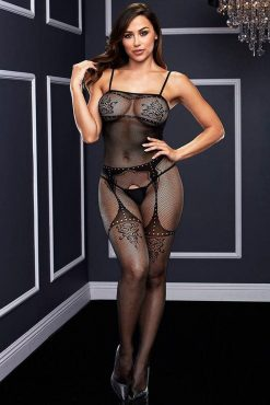 Baci 5004 Crotchless Jaquard Bodystocking-0